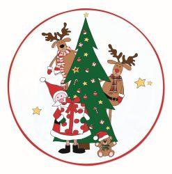 Porcelán tortatál lapáttal 30cm,dobozban,Santa & Friends Tree