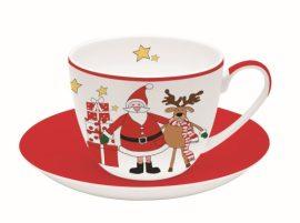 Porcelán reggelizőcsésze+alj,dobozban 350ml,Santa & Friends