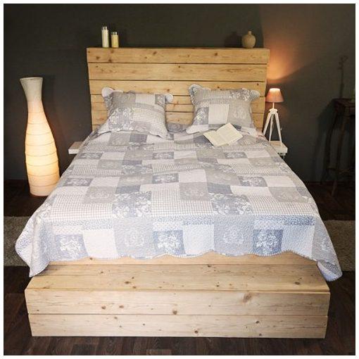 Szürke kockás ágytakaró 230x250cm,2db párnahuzattal 50x70cm