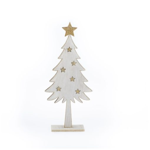 Fenyő arany csillagos 16x36x5cm,fából