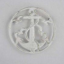 Öntöttvas edényalátét horgonyos, 17cm, antik fehér