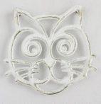 Öntöttvas edényalátét macska 16cm, antik fehér