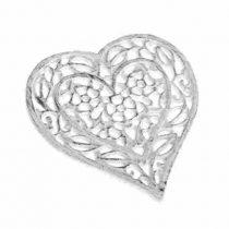 Öntöttvas edényalátét fehér szív, 16x17x1,5cm