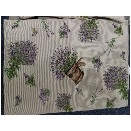 Textil asztali futó 33x140cm, 70% polyester + 30% cotton, cserepes levendulás