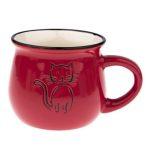 Kerámiabögre rajzos cicás, 368ml, piros