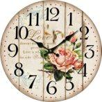 DAK.HLC6028 Óra Love rózsaszín rózsás 34cm,fa