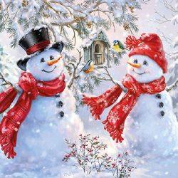 AMB.33310720 Snowmen And Birds papírszalvéta 33x33cm,20db-os