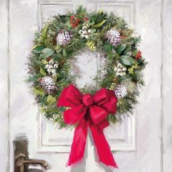AMB.33310680 White Wreath papírszalvéta 33x33cm,20db-os
