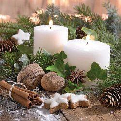 AMB.33310805 White Candles papírszalvéta 33x33cm.20db-os