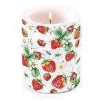 AMB.19111645 Strawberries All Over white átvilágítós gyertya 12x10cm