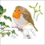 AMB.33312155 Christmas Robin papírszalvéta 33x33cm,20db-os