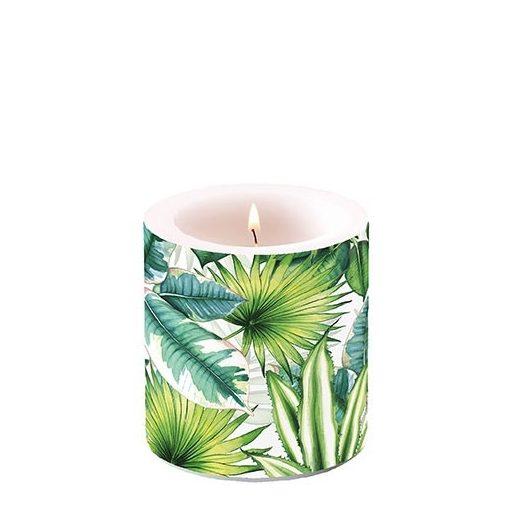 Tropical Leaves átvilágítós gyertya 8x7,5cm