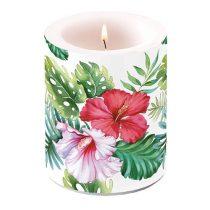 Hibiscus Floral White átvilágítós gyertya 12x10cm