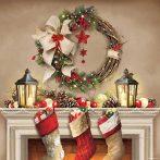 AMB.33313525 Wreath and Socks papírszalvéta 33x33cm,20db-os