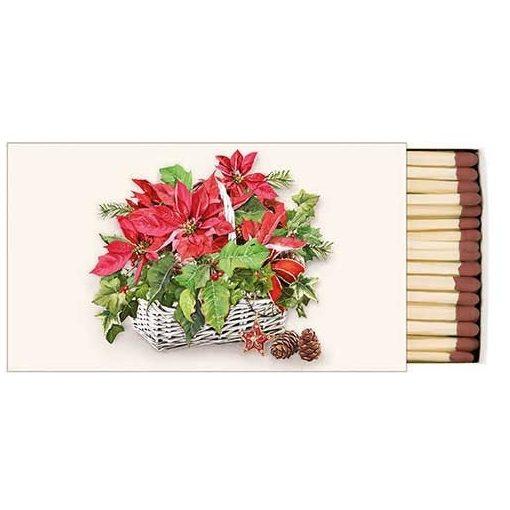 Poinsettia In Basket gyufa,6,5x11cm