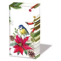 Bird On Poinsettia white papírzsebkendő, 10db-os