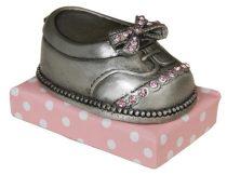 Ezüstözött kiscipő 6cm,rózsaszín, fém dekoráció