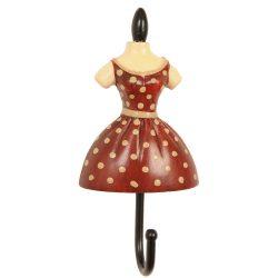 CLEEF.60525 Fogas 10,5x5x3cm női ruhás,piros-krém pöttyös, műanyag