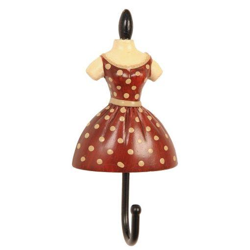 Fogas 10,5x5x3cm női ruhás,piros-krém pöttyös, műanyag