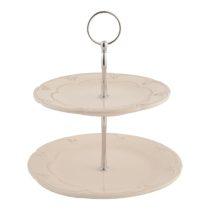 Kerámia sütikínáló állvány kétemeletes,21x23cm,Rustic Romance