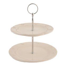 CLEEF.6CE0266 Kerámia sütikínáló állvány kétemeletes,21x23cm,Rustic Romance