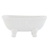 Kád formájú kerámia szappantartó 14x7x6cm,fehér,domború angyalmintával