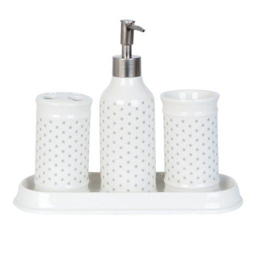 Kerámia fürdőszobaszett 4 részes,apró szürke csillagos