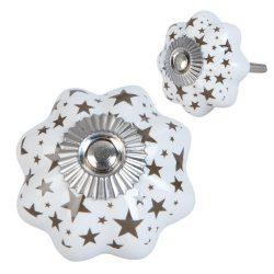 Ajtófogantyú kerámia 4x4cm,fehér csillag mintával