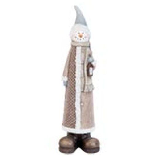 Kerámia dekorfigura, álló hóember kabátban, 14x11x54cm