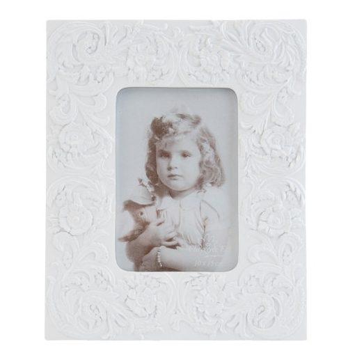Képkeret műanyag 20x25cm fehér,virágmintás