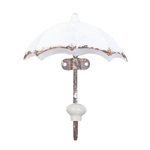Fémfogas esernyő alakú 12x16cm,fehér antikolt