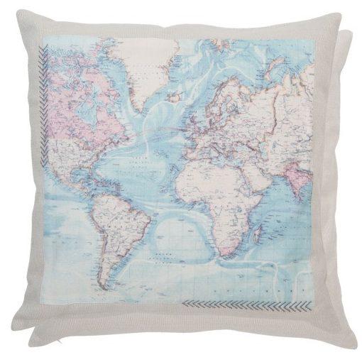 Textil párnahuzat 50x50cm,térképes