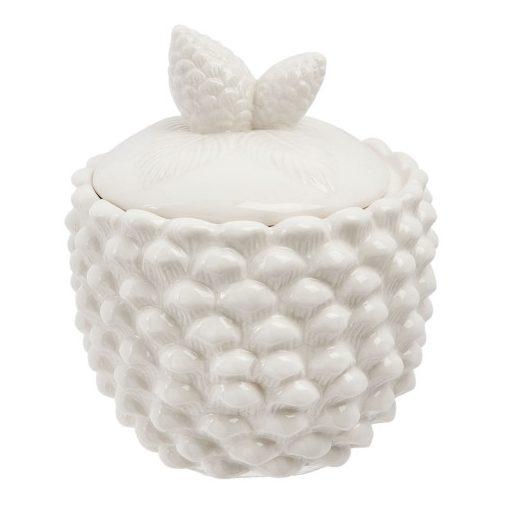 Porcelántároló, fehér tobozmintás 11x12cm, 0,3L