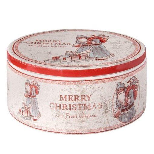 """Kerámiadoboz kerek, mikulásos, 20x9cm, Merry Christmas and Best Wishes"""""""""""