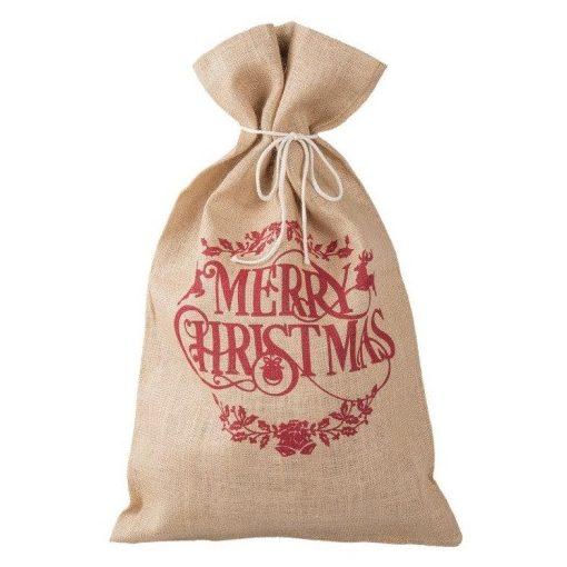 """Jutazsák 50x80cm, ilex ággal, Merry Christmas"""""""""""