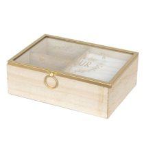 Ékszertartó fadoboz, üvegtetővel 8x6x13cm