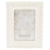 CLEEF.2F0566 Képkeret műanyag krém virágos 16x21cm/13x18cm