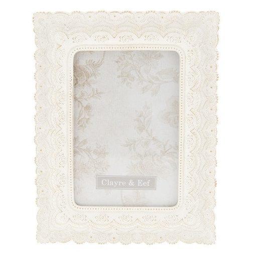 Képkeret műanyag krém virágos 16x21cm/13x18cm