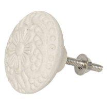 CLEEF.64169 Ajtófogantyú 4,5x4,5cm kerámia,fehér virágos