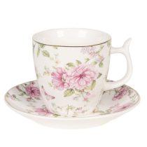 Porceláncsésze+alj pillangós-virágos 13x2cm/7x7cm, fehér,aranyszegéllyel
