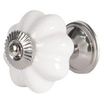 CLEEF.64376 Ajtófogantyú 4cm kerámia,fehér