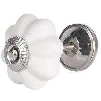 CLEEF.64377 Ajtófogantyú 4cm kerámia,matt fehér