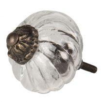 CLEEF.64516 Ajtófogantyú üveg-fém 5x5cm