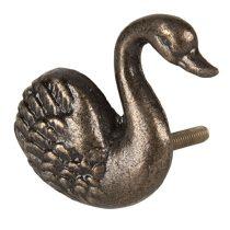 CLEEF.64523 Ajtófogantyú hattyú 6x6cm,barna fém