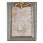 CLEEF.2F0714 Képkeret műanyag, 17x22/13x18cm, szürke-arany színű, virágos