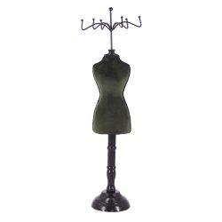 CLEEF.64630GR Ékszertartó baba zöld plüss, 12x10x39cm, fa, textil,fém
