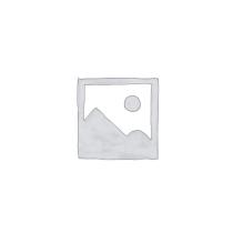 CLEEF.64679 Ékszertartó baba 10x8x32cm, műanyag/fém,világoskék alapon fehér pöttyös ruha