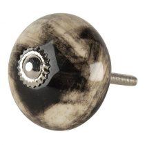 CLEEF.64787 Ajtófogantyú kerámia fekete márványmintás,4x6cm