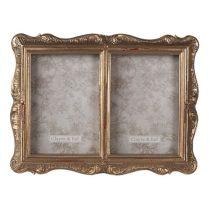 CLEEF.2F0826 Antikolt aranyszínű dupla képkeret 17x22/10x15cm, műanyag