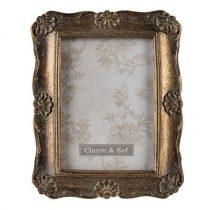 CLEEF.2F0827 Antikolt aranyszínű képkeret 14x19cm/10x15cm, műanyag